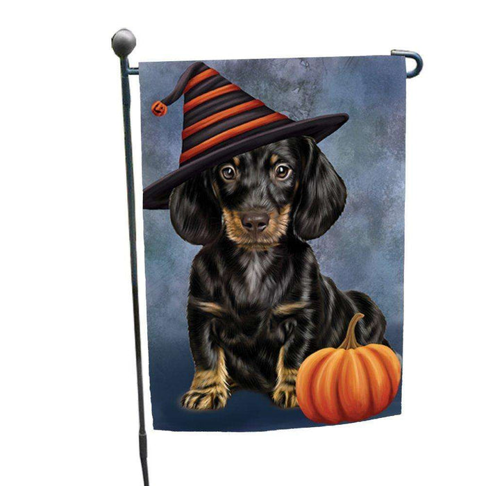 Dachshund Dog Wearing Witch Hat with Pumpkin Garden Flag