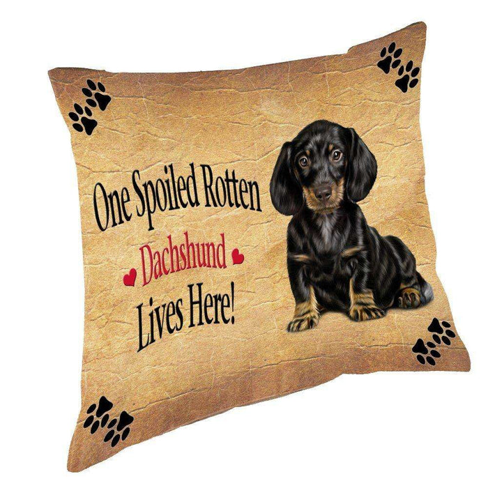Dachshund Spoiled Rotten Dog Throw Pillow
