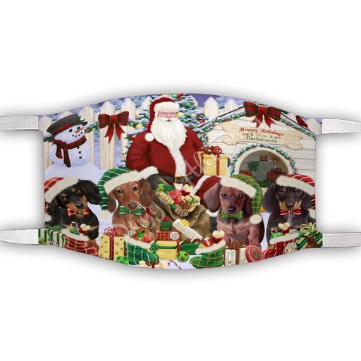 Happy Holidays Christmas Dachshund Dogs House Gathering Face Mask FM48243