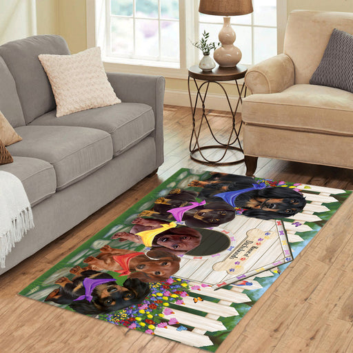 Spring Dog House Dachshund Dogs Area Rug