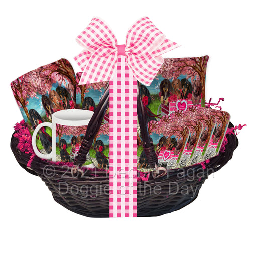 Mother's Day Gift Basket Dachshund Dogs Blanket, Pillow, Coasters, Magnet, Coffee Mug and Ornament