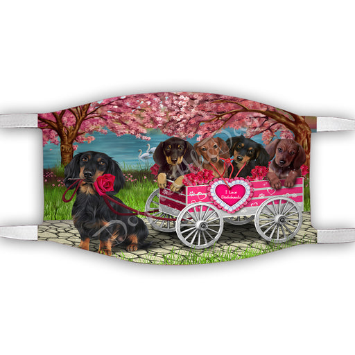 I Love Dachshund Dogs in a Cart Face Mask FM48141