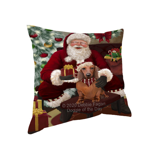 Santa's Christmas Surprise Dachshund Dog Pillow PIL87148