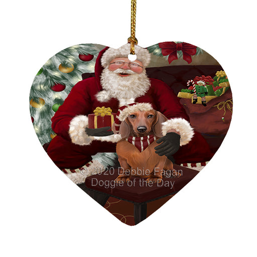 Santa's Christmas Surprise Dachshund Dog Heart Christmas Ornament RFPOR58358