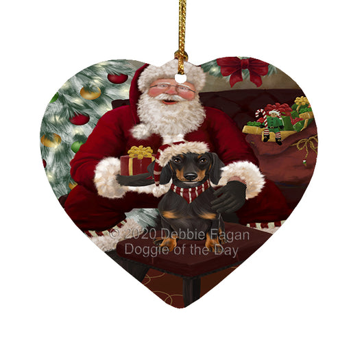 Santa's Christmas Surprise Dachshund Dog Heart Christmas Ornament RFPOR58359