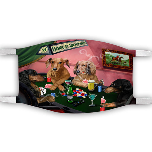 Home of Dachshund Dogs Playing Poker Face Mask FM49787