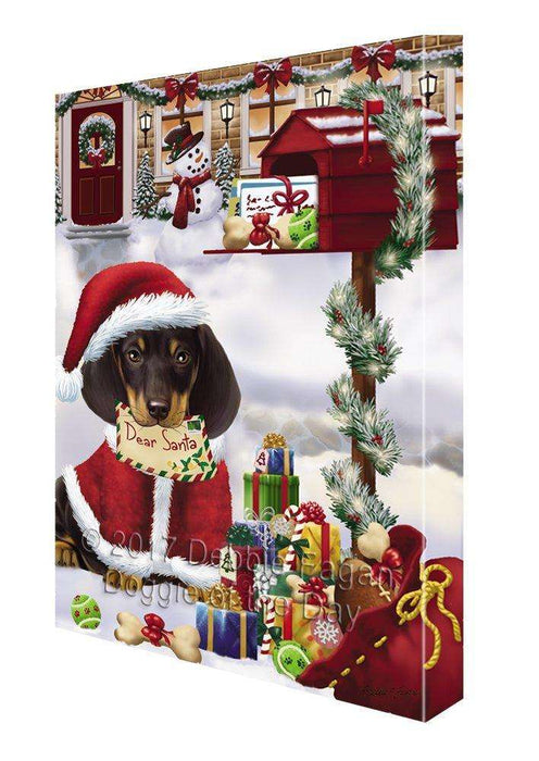 Dachshunds Dear Santa Letter Christmas Holiday Mailbox Dog Painting Printed on Canvas Wall Art