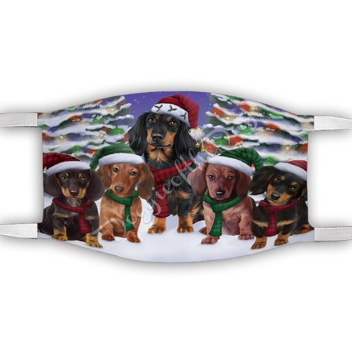 Dachshund Dogs Christmas Family Portrait in Holiday Scenic Background Face Mask FM48340