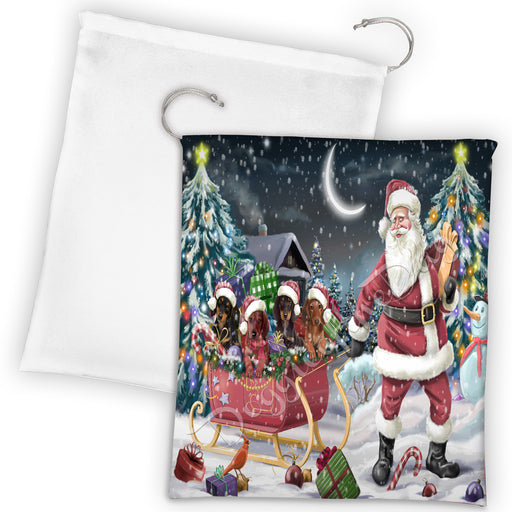 Santa Sled Dogs Christmas Happy Holidays Dachshund Dogs Drawstring Laundry or Gift Bag LGB48694