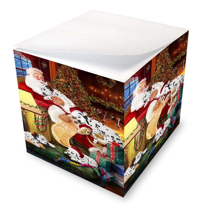 Dalmatian Dog and Puppies Sleeping with Santa Note Cube