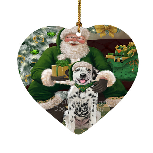 Christmas Irish Santa with Gift and Dachshund Dog Heart Christmas Ornament RFPOR58261