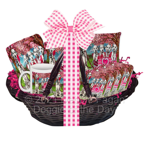 Mother's Day Gift Basket Dalmatian Dogs Blanket, Pillow, Coasters, Magnet, Coffee Mug and Ornament
