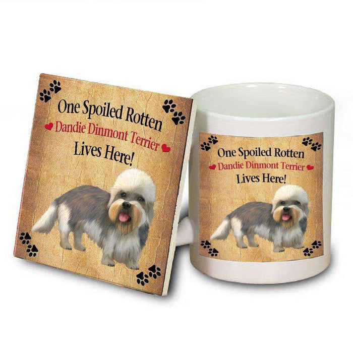 Dandie Dinmont Terrier Spoiled Rotten Dog Mug and Coaster Set