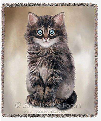 Dark Grey Kitty Art Portrait Print Woven Throw Blanket 54 X 38