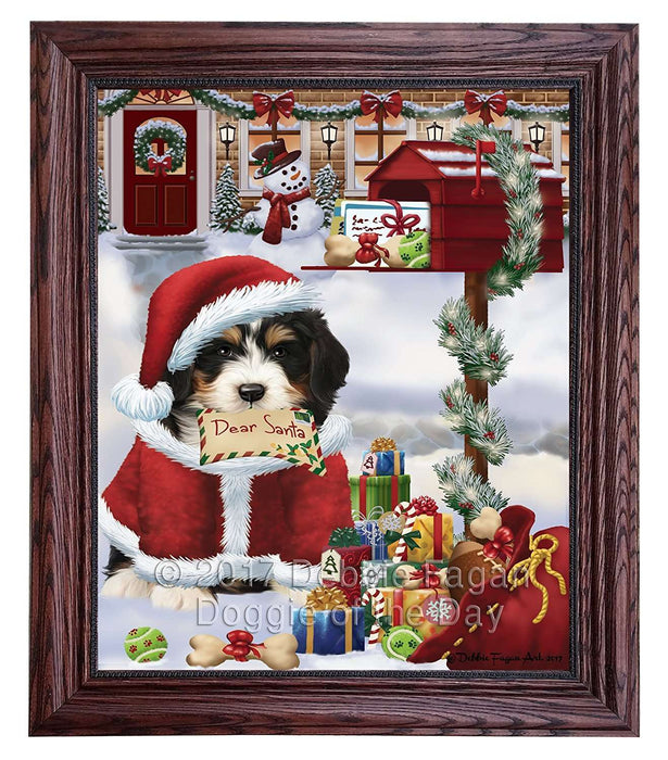 Dear Santa Mailbox Christmas Letter Bernedoodle Dog Framed Canvas Print Wall Art