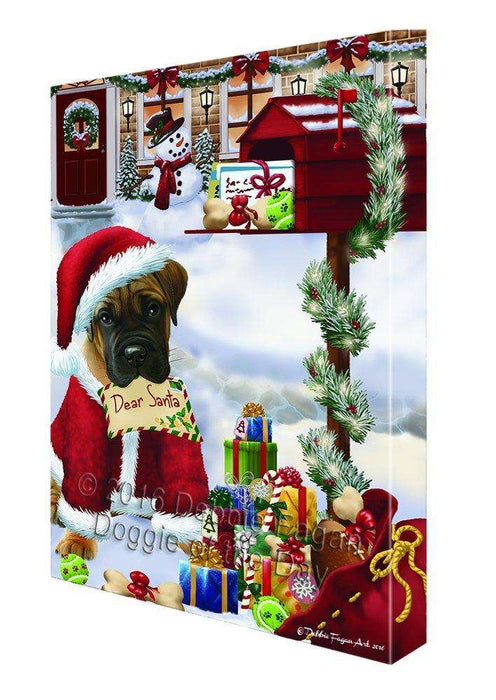 Dear Santa Mailbox Christmas Letter Bullmastiff Dog Canvas Wall Art