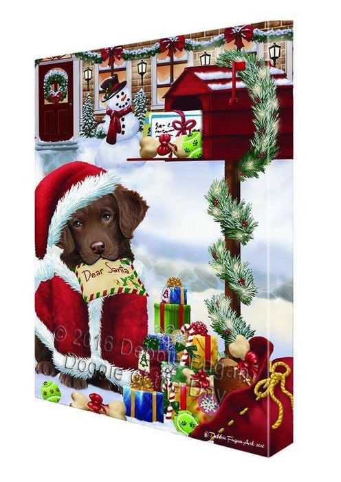 Dear Santa Mailbox Christmas Letter Chesapeake Bay Retriever Dog Canvas Wall Art