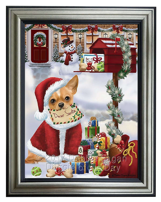 Dear Santa Mailbox Christmas Letter Chihuahua Dog Framed Canvas Print Wall Art