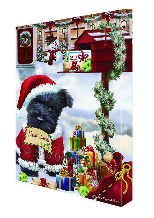 Dear Santa Mailbox Christmas Letter Scottish Terrier Dog Canvas Wall Art