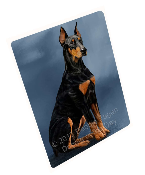 Doberman Pinscher Dog Art Portrait Print Woven Throw Sherpa Plush Fleece Blanket