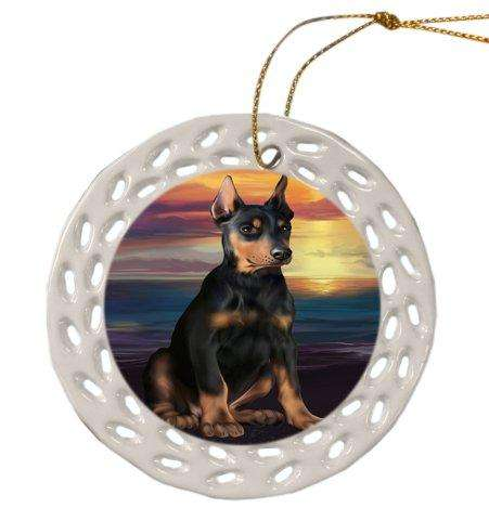 Doberman Pinscher Dog Christmas Doily Ceramic Ornament
