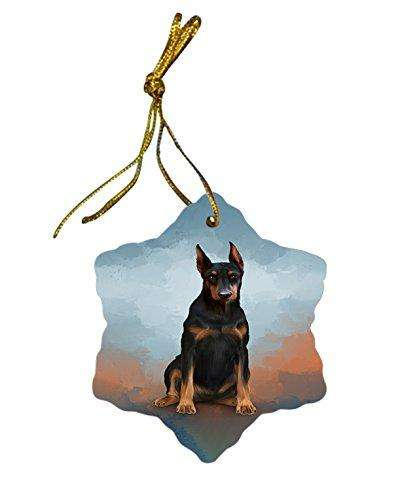 Doberman Pinscher Dog Christmas Snowflake Ceramic Ornament