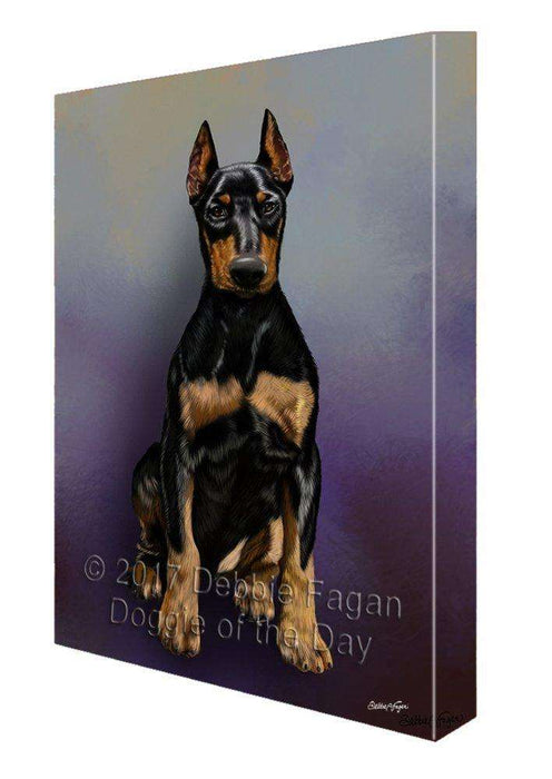 Doberman Pinscher Dog Painting Printed on Canvas Wall Art Signed