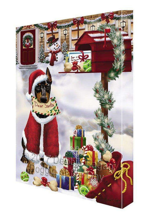 Doberman Pinschers Dear Santa Letter Christmas Holiday Mailbox Dog Painting Printed on Canvas Wall Art