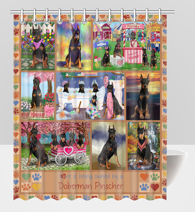 Love is Being Owned Doberman Dogs Beige Shower Curtain