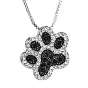 Dog Cat Lover Paw Print Necklace Bling Black & Silver Rhinestone