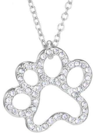Dog Cat Lover Paw Print Necklace Bling Silver Rhinestone