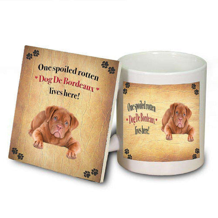 Dog De Bordeaux Spoiled Rotten Dog Coaster and Mug Combo Gift Set