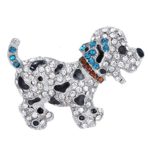 Dog Puppy Lover Brooch Rhinestone Bling Pin Silver Color