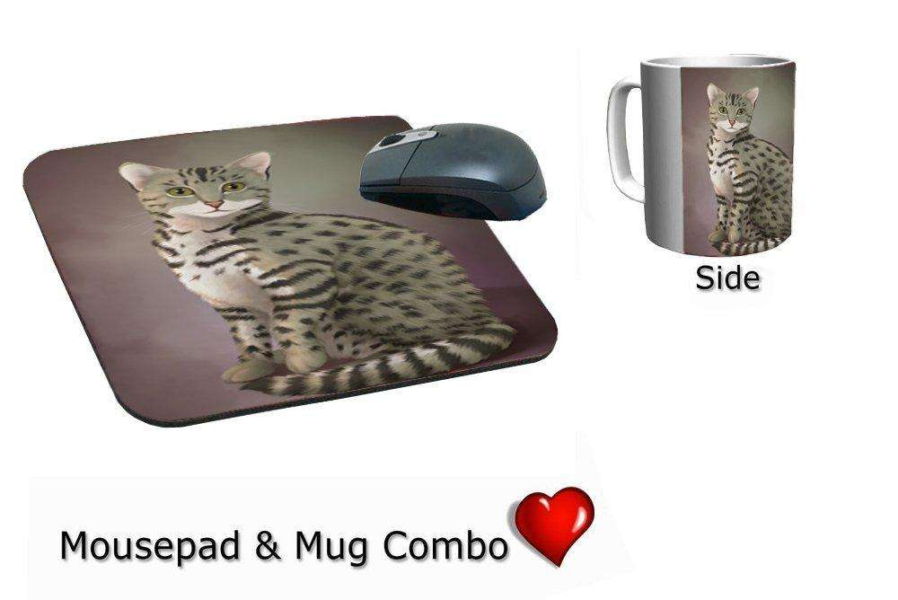 Egyptian Mau Cat Mug & Mousepad Combo Gift Set
