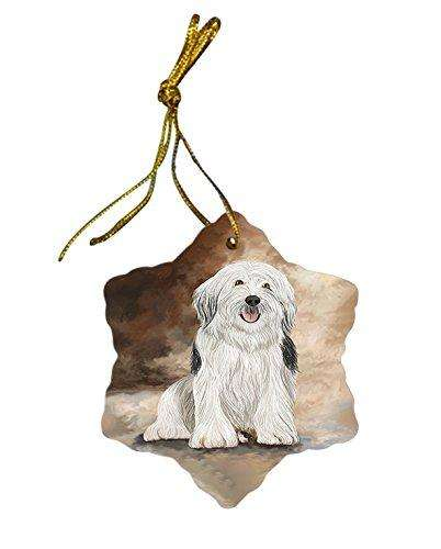 English Sheepdog Dog Christmas Snowflake Ceramic Ornament
