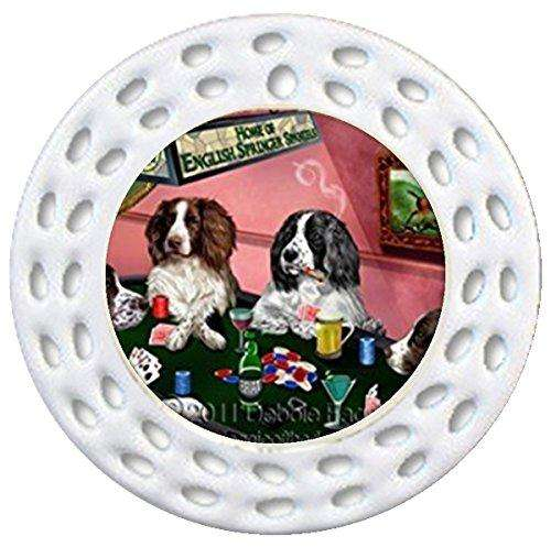 English Springer Spaniel Christmas Holiday Ornament 4 Dogs Playing Poker