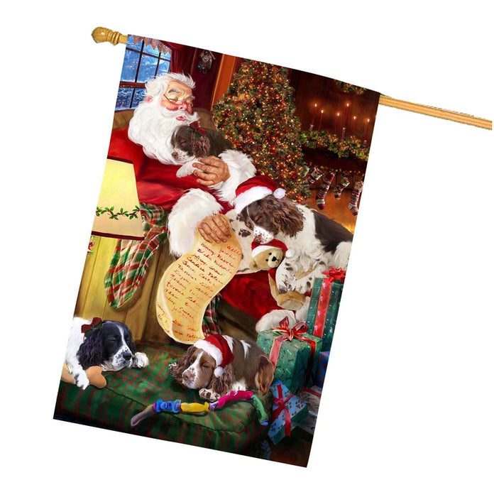 English Springer Spaniel Dog and Puppies Sleeping with Santa House Flag