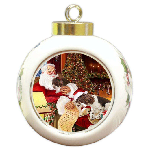 English Springer Spaniel Dog and Puppies Sleeping with Santa Round Ball Christmas Ornament D432