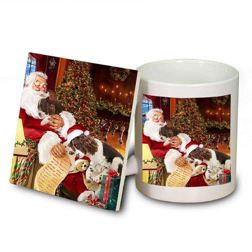 English Springer Spaniel Dog with Puppies Sleeping with Santa Mug & Coaster Set