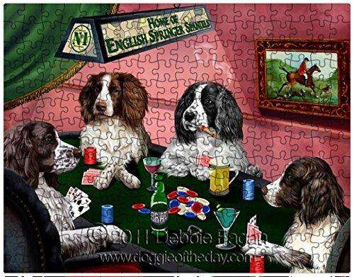 English Springer Spaniel Dogs Playing Poker 500 Pc. Puzzle with Photo Tin