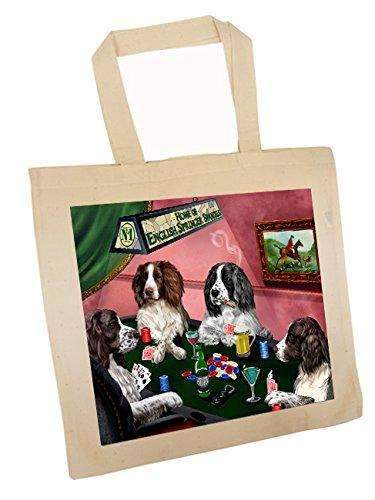 English Springer Spaniel Four Dogs Playing Poker Tote
