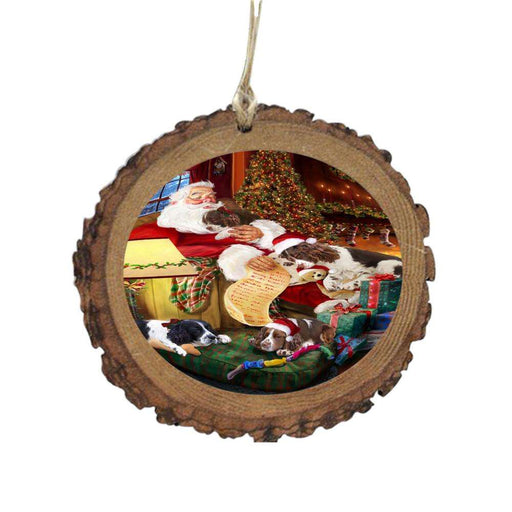 English Springer Spaniels Dog and Puppies Sleeping with Santa Wooden Christmas Ornament WOR49278