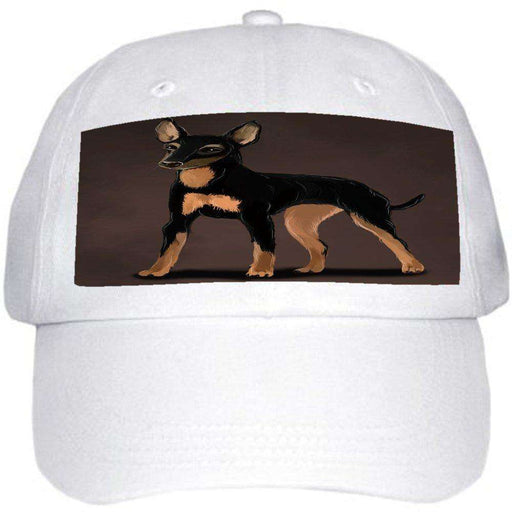 English Toy Terrier Dog Ball Hat Cap Off White