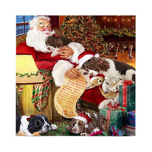 Santa Sleeping with English Springer Spaniel Dogs Square Towel