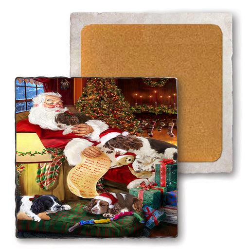 Set of 4 Natural Stone Marble Tile Coasters - English Springer Spaniels Dog and Puppies Sleeping with Santa MCST48099
