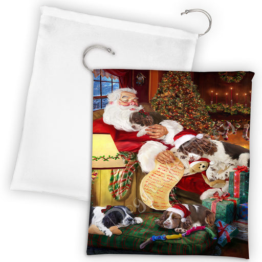Santa Sleeping with English Springer Spaniel Dogs Drawstring Laundry or Gift Bag LGB48809