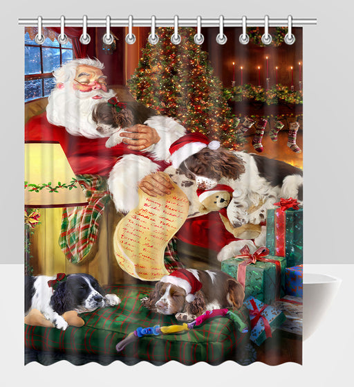 Santa Sleeping with English Springer Spaniel Dogs Shower Curtain