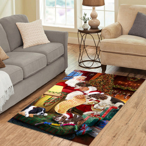 Santa Sleeping with English Springer Spaniel Dogs Area Rug