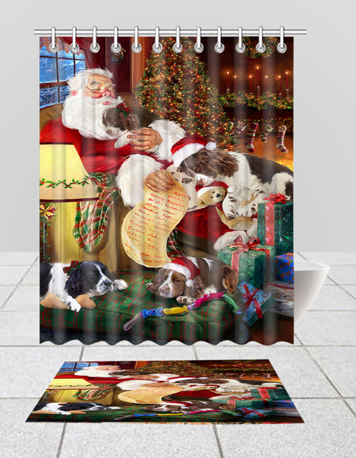 Santa Sleeping with English Springer Spaniel Dogs  Bath Mat and Shower Curtain Combo