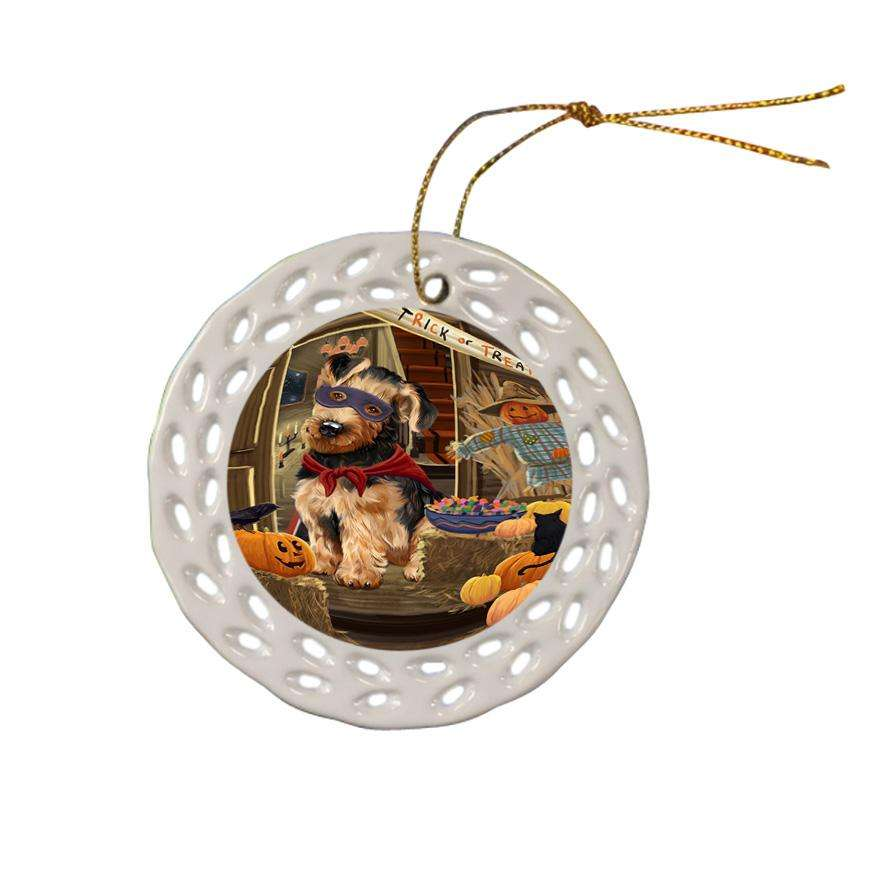 Enter at Own Risk Trick or Treat Halloween Airedale Terrier Dog Ceramic Doily Ornament DPOR52925